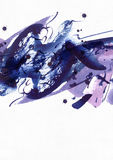 Large abstract watercolor background. Vivid blue and purple freehand brush stains, dots and spots on grainy white textured paper. Stock Image