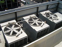 Large AC Units. Large industrial air conditioning units on a hot day Stock Photography