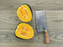 Large Acorn Squash cut in half Royalty Free Stock Photos
