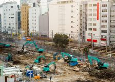 Large and active building construction site. stock images