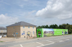 Large advertising hoarding with house for rural residential development being constructed. Elmstead Essex United Kingdom -17 July 2017: Large advertising Stock Images