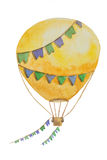 A large air balloon with flags on a string for travel painted in watercolor. A large air yellow balloon with flags on a string for travel painted in watercolor royalty free stock photos