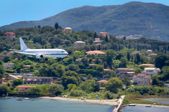 Large aircraft landing on Corfu island, Greece Stock Image