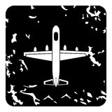 Large aircraft with missiles icon, grunge style Royalty Free Stock Photography