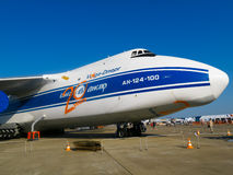 Large airplane Antonov Volga-Dnepr AN-124-100. ZHUKOWSKY - AUGUST 17: Giant airplane fuselage and nose of AN-124-100 Antonov Volga-Dnepr at International stock image