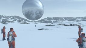 Free Large Alien Silver Sphere Floating Above Snowy Frozen Tundra With People In Hazmat Suits Observing It Royalty Free Stock Photography - 184196517