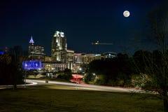 Moon Rise Over Raleigh stock photos