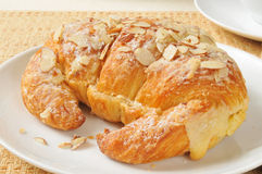 Large almond croissant Royalty Free Stock Image