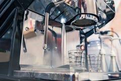 Large aluminium shine coffee maker elegance Royalty Free Stock Photography