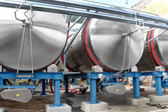 Large aluminum drums tanks and pipelines modern plant for the pr Stock Image