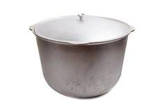Large aluminum pot or cauldron for cooking isolated on white Stock Photo