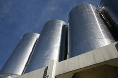 Large aluminum tanks Stock Image