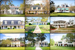 Large American Homes Collage. Large American homes in a variety of architectural styles Royalty Free Stock Images