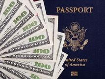 Cash & American Passport Stock Images