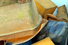 Large amount of used Foam base and old bathtub about to be recycled. royalty free stock image