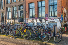 Large Amounts of Bikes in Amsterdam Royalty Free Stock Image