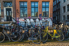 Large Amounts of Bikes in Amsterdam Stock Photography