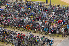 Large Amounts of Bikes in Amsterdam Royalty Free Stock Photography
