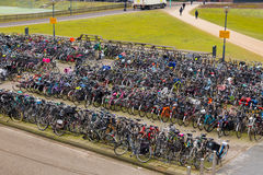 Large Amounts of Bikes in Amsterdam Stock Photos