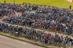 Large amounts of bikes parked Stock Image