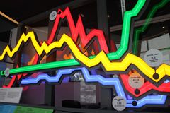 Large analytical color, neon chart. Graph, diagram stock image
