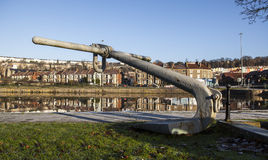Large anchor by the harbour in Bristol Royalty Free Stock Photos
