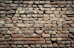 Large brick wall. Large ancient brick wall from very old bricks. Very good for backgrounds Royalty Free Stock Images
