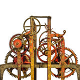 Large ancient church clock mechanism isolated on white Stock Images