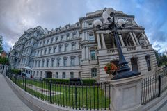 Dwight D. Eisenhower executive office building, Washington DC. Large angle view of Dwight D. Eisenhower executive office building situated just west of the White royalty free stock image
