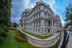 Dwight D. Eisenhower executive office building, Washington DC. Large angle view of Dwight D. Eisenhower executive office building situated just west of the White stock photography