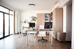 Large angle view. Interior of an empty modern office. Royalty Free Stock Photography