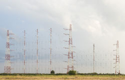 Large antennas array. Antennas array of large dimensions for long wave radio transmissions stock photography