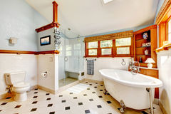 Large antique classic blue bathroom interior Stock Images