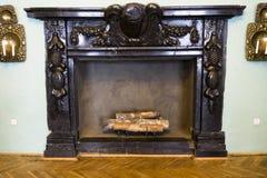 Large antique fireplace stock photo
