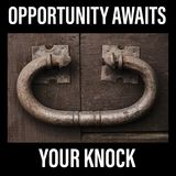 Opportunity awaits your knock sign. Large rustic door knocker, vintage metal on an old wooden door. Large, antique and strong, makes you want to grab hold of it Stock Photography