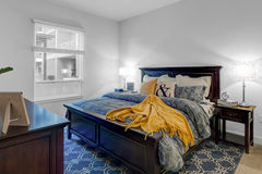 Large apartment bedroom and king size bed Stock Photography