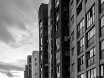 Large Apartment Block and Sunset Stock Images
