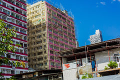 Bamboo architecture and apartments in Hong Kong Stock Image