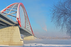 A large arch bridge. In the cold winter Royalty Free Stock Photography