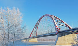 A large arch bridge. In the cold winter Stock Images