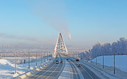 A large arch bridge. In the cold winter Stock Photography