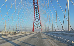A large arch bridge. In the cold winter Royalty Free Stock Photo