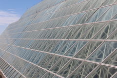 Large Arizona Greenhouse. Exterior structure with glass panels of large greenhouse near Tucson, Arizona stock image