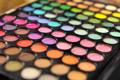 Large array of eye shadows Stock Photos