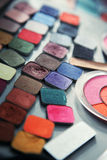 Large array of eye shadows Royalty Free Stock Photo