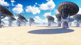 Large Array Radio Telescope. Time-lapse of a radio telescope in desert at sunny day. 3D Rendering royalty free stock image
