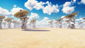 Large array radio telescope. Time-lapse of a radio telescope in desert at sunny day. Produced in 4 k stock illustration