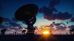 Large Array Radio Telescope. Time-lapse of a radio telescope in desert at sunrise against the blue sky. Looped realistic. Animation. Produced in 4K stock video footage
