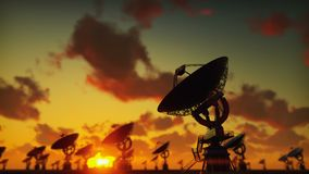 Large Array Radio Telescope. Time-lapse of a radio telescope in desert at sunset. Looped realistic animation. Produced in 4K vector illustration