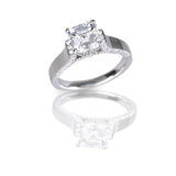 Large asscher cut modern diamond engagement wedding ring royalty free stock photos